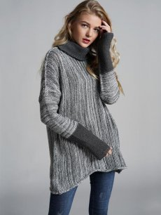 Womens Knit Sweater Jumper High Neck Loose Pullover