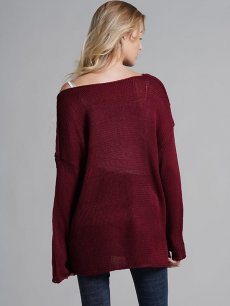 Womens Knit Sweater Jumper Solid Color Loose Pullover