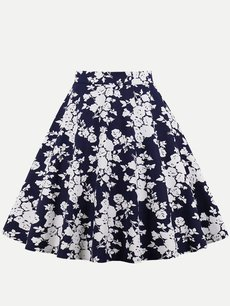 Floral Printed Cotton Midi Skirt