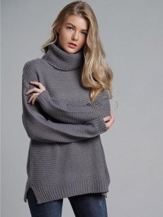 Womens Knit Sweater Jumper High Neck Solid Color Thick Pullover