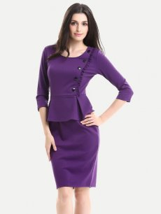 Solid Ruffle Trim Business Work Office Pencil Dress