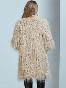 Open Front Long Faux Fur Coat