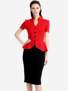 Womens Business Dress Work Office Pencil V Neck Ruffles Color Block Knee Length Midi Dress With Sleeves