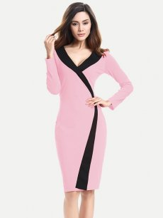 Color Block Business Work Bodycon Pencil Dress