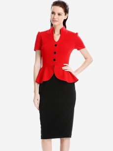 Color Block Ruffle Business Work Dress