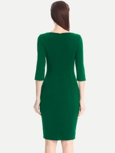 Solid Zipper Back Business Work Pencil Dress