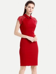 Lapel Solid Lace Trim Business Work Dress