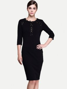 Black Lacing Front Business Work Dress
