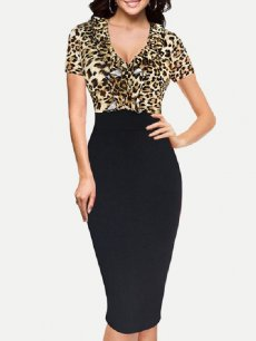 Womens Business Dress Work Office Pencil V Neck Leopard Print Plus Size Knee Length Midi Dress With Sleeves