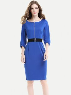 Solid Belted Zipper Front Work Bodycon Dress