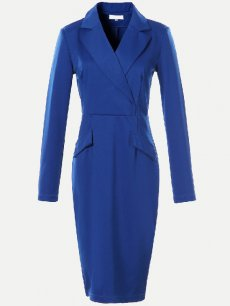 Solid Belted Bodycon Work Business Dress