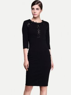 Womens Business Dress Black Work Office Pencil Lacing Long Sleeve Knee Length Midi Dress