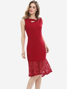 Womens Business Dress Work Office Pencil Solid Color Lace Sleeveless Mermaid Knee Length Midi Dress