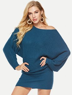 Womens Knit Sweater Jumper Dress Batwing Sleeve Solid Color Pullover