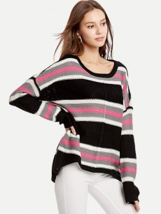 Womens Knit Sweater Jumper Stripes Print Pullover