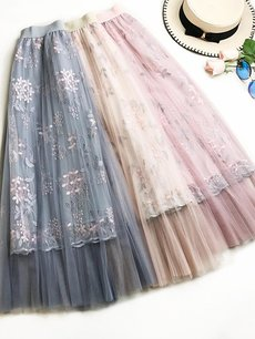 Womens Maxi Long Skirt Vintage Embroidery Flowers Mesh Pleated High Waist Skirt