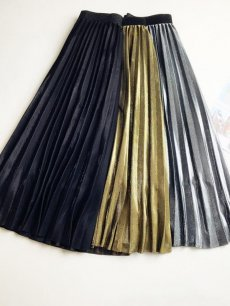 Womens Long Skirt Vintage Solid Color Pleated High Waist A Line Swing Skirt
