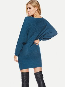Batwing Sleeve Bodycon Sweater Dress