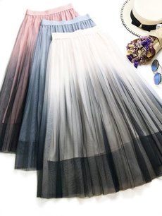 Womens Maxi Long Skirt Vintage Gradient Mesh High Waist A Line Swing Skirt
