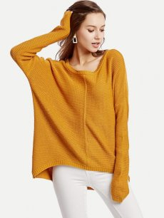 Womens Knit Sweater Jumper Solid Color Pullover