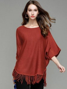 Womens Knit Sweater Jumper Tassels Solid Color Loose Pullover
