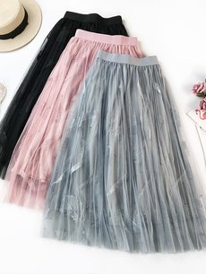 Womens Maxi Long Skirt Vintage Pleated Solid Color Embroidery Leaves Mesh A Line Swing Skirt
