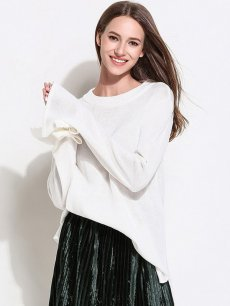 Womens Knit Sweater Jumper Loose Solid Color Pullover