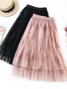 Embroidery Leaves Beads Mesh Long Skirt