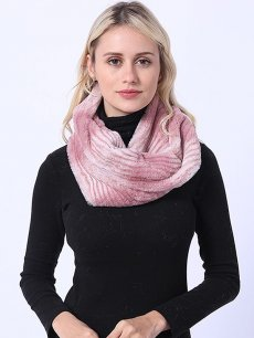 Faux Rabbit Fur Gradient Pink Thick Scarf
