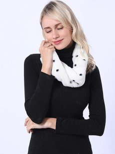 Polka Dot White Faux Fur Scarf