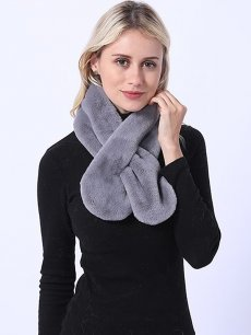 Faux Rabbit Fur Thick Grey Tippet Scarf