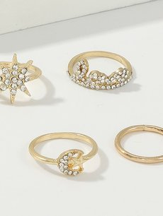 Rhinestone Moon & Star Ring Set 4pcs