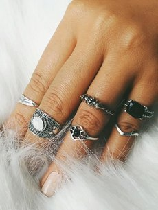 Gemstone Silver Ring Set 6pcs