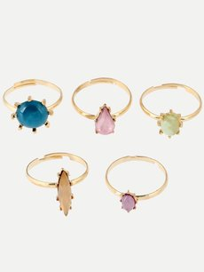 Gemstone Decor Gold Ring Set 5pcs