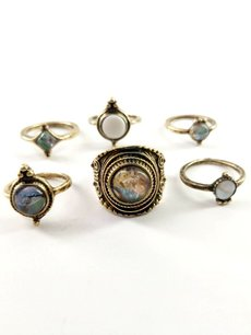 Gemstone Decor Gold Ring Set 6pcs