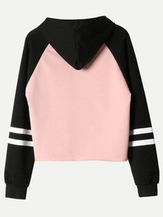 Color Block Hoodies Letters Hooded Sweatshirt