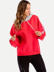Color Block Hoodies Drawstring Hooded Sweatshirt