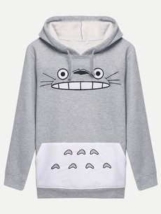 Grey Cartoon Hoodies Hooded Sweatshirt