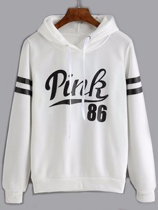 Letters Hoodies Drawstring Hooded Sweatshirt