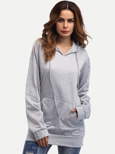 Grey Hoodies Plain Hooded Sweatshirt