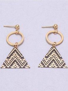 Circle Triangle Gold Drop Earrings
