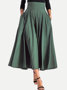 Bow Back Pleated Long Maxi Skirt