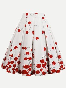 Womens Midi Skirt Vintage Cherry Print Pleated A Line Knee Length Cotton Skirt