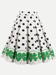 Womens Midi Skirt Vintage Polka Dots Print Pleated A Line Knee Length Cotton Skirt