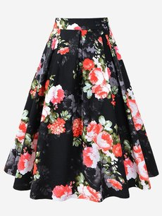 Womens Midi Skirt Vintage Floral Print High Waist A Line Knee Length Cotton Skirt