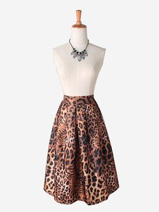 Womens Midi Skirt Vintage Tigers Pattern High Waist A Line Knee Length Cotton Skirt