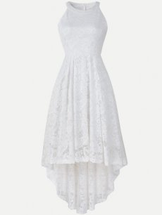 Halter High Low Sleeveless Lace Dress