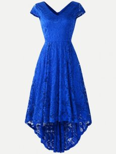 Guipure High Low Lace Overlay Dress