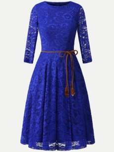 Solid Guipure Lace Overlay Dress