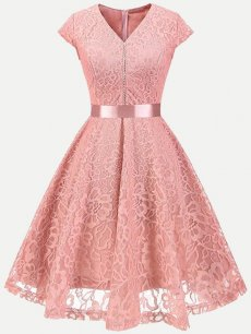 Guipure Lace Overlay Skater Dress